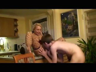 Teen guy and a mature have hot sex