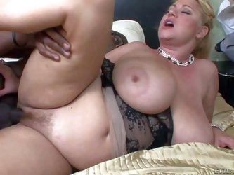 Samantha 38G is a chubby mature blonde with natural monster tits! She is horny as hell and satisfies her sexual needs with well hung black dude. Her b