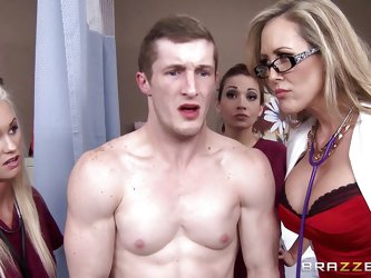 Brick is being examined by the sexy milf doctor Brandi Love along with her two young and gorgeous nurses. The doctor licks the patient's cock whi