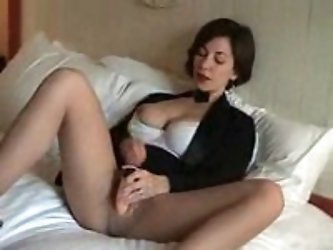 Mature wife masturbates and invites to join her! She doesn't keep in mind fingering, but off course a thick long member in her flaming slit. And if