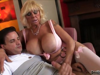 Granny with huge tits Shelly A sucking deep
