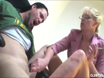 Mature blonde office lady Tatiana pleasures one younger dude