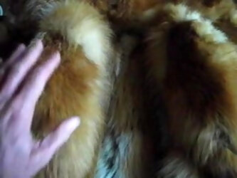 Mom's red fox fur on my bed wait my cock