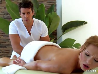 Ramon is a dirty masseur, he likes touching and petting young girls' beautiful bodies and asses and this time pretty redhead girl Katja Kassin ge