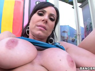 Naughty brunette Kendra Lust shows off her perfect bare bubble butt and hairless pussy before taking cock in her mouth. Busty Kendra Lust with great b