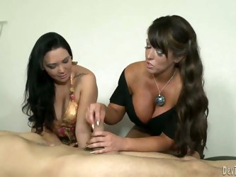 Busty mom Alura Jenson has got a smoking hot daughter Megan Foxx, but the babe is still inexperienced in sex. Mom teaches her how to properly give a t