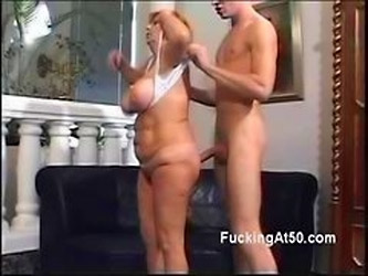 Horny Redhead Granny Gives A Young Stud A Naughty Blo...
