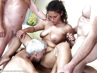 Gabrielle is a chubby milf with big tits who has a thing with old mens so she buries her tongue in their assholes. The guy with white hair probably lo