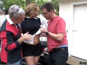 Experienced cuckold lusty brunette milf Rebecca Bardoux with big tits and tight sexy ass and her filthy husband have arousing outdoor threesome with t