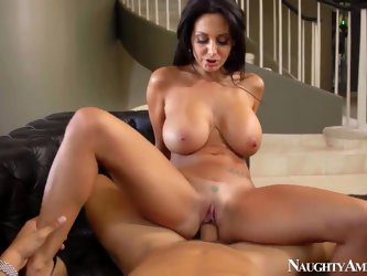 Attractive cock hungry black haired curvy milf Ava Addams with big jaw dropping tits and juicy ass in white undies only gives head to Danny Mountain a