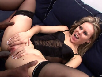 Slutty blonde wife Sindy Lange fucked in all holes by 2 black dudes