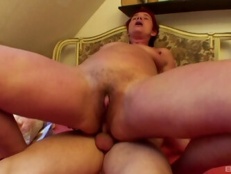 Fucking on the bed between a younger dude and anal loving mature Bea