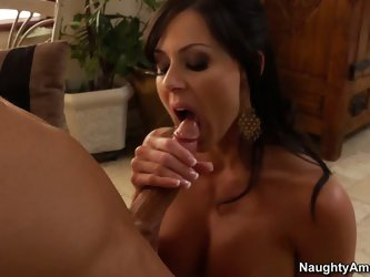 Dark haired MILF Kendra Lust is cock hungry. Lucky guy gets interviewed by sultry brunette that bares her sexy boobs and sucks his cock like there&