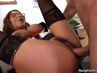 Big titted teacher in glasses Ariella Ferrera is a sexy woman that finds horny student Johnny Castle banging her meaty pussy good and hard on the desk
