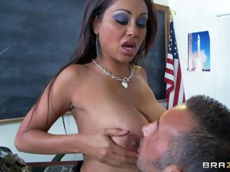 Indiana woman Priya Rai is a hot teacher that loves to seduce men with her killer juggs. Hot dark haired milf takes off her bra and then takes stiff f