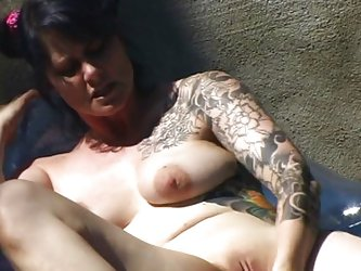 Solo Girl;Masturbation;Black-haired;Big Tits;Caucasian;Vaginal Masturbation;Toys;Tattoos;Pool;Squirting;MILF;Outdoor