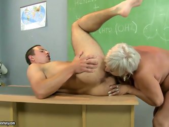 Bad student needs to be punished by the sweet mature babe Cecily. She left this guy after school and is ready to teach him a real lesson, that he will