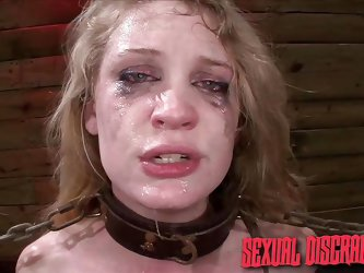 The master humiliates and violates this slave so badly that the make up is running down her face. The dominator slaps his cock against her pretty face