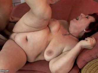 Hetty is a horny plump granny with saggy natural titties and wet hairy twat. She gets her fuck hole filled with rock solid young dick. Watch horny boy