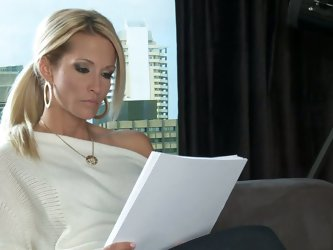 Blonde MILF Jessica Drake is a writer that would like to fulfill her sex fantasies. Her dreams are about having sex with handsome elegant man from the