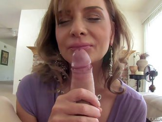 Rebecca Bardoux is a hot milf that loves stiff dick of Winston Burbank. She jerks and lick his meat pole from your point of view. She can't keep