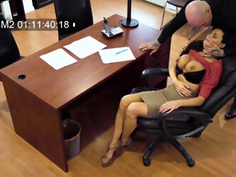 Spy cam catches a boss fucking his busty secretary Becky Bandini