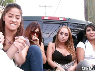 The slutty brunette interviewed a couple of whores on the street and now they are all together in the back of this truck. What more could this guy wis