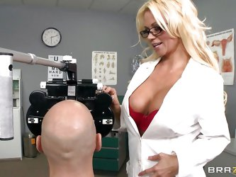 A very hot thirty five year old doctor gets horny and wants to fuck her patient and shows him a picture of her naked. he gets hard and start licking h