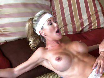 Big boobed sporty milf Brandi Love does exercises topless and turns man on. Keiran Lee gets his cock sucked by horny woman before he eats and fucks he