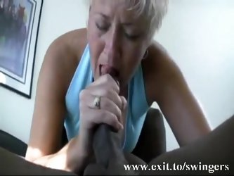 Mom Tracey sucks BBC and gets cum in mouth