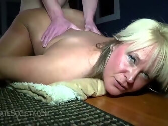 Fat, blonde mature with big, saggy tits likes to get fucked in a doggy- style position