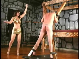 03. My First Mistress Cheyenne Whips Slaves In Gold Dress