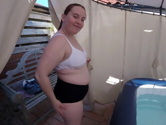 Mom strips out of tight shorts and underwear