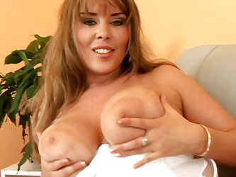 Naughty Czech mom Krystal has a big pair of jugs. She taunts us with her boobs and shows what she has. The fucking slut then licks her nipples and lay