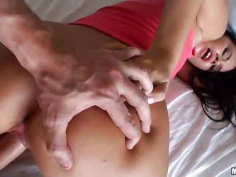 Hot ass latina Vera Vaughn takes off her panties and bends over offering her sweet booty to this guy. He immediately starts fucking her and you can se