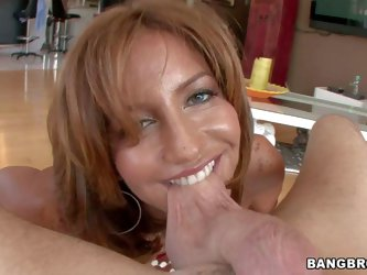 Tara Holiday is a lovely leggy milf with long legs and big boobs, Hot woman in mini skirt and red thong sucks dude;s cock and balls from first person