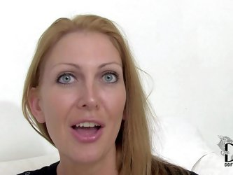 Naughty amateur blonde milf with stunning blue eyes and firm ass in sexy black dress and undies reveals her unreal round firm hooters at the interview