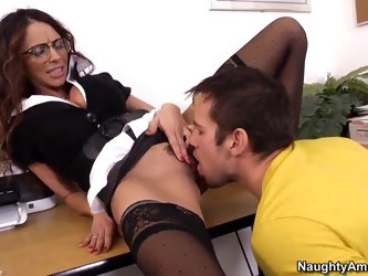 Ariella Ferrera is a sexy teacher who decided to have some solo after classes right on her desk. Soon Johny Castle came to her and started licking her