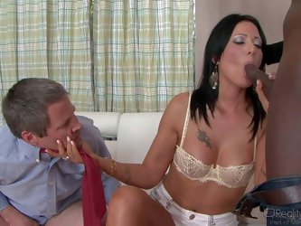 Zoey Holloway's husband's dick is too small. She needs big one and gives it a try in front of him. Sex hungry mature brunette sucks big blac