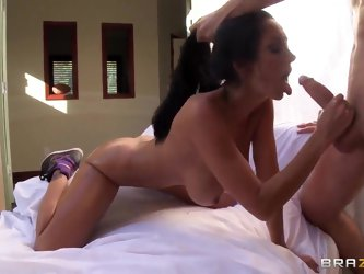 Black haired milf Ava Addams with big stunning tits and provocative tattoo on lower back gets fucked hard in the ass by wild dude James Deen in close