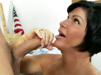 Charming woman Shay Fox is a his slutty milf with dark hair and big boobs. She takes off her white blows and swallows his juicy sausage with big desir