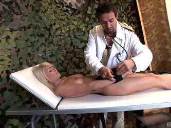 Kinky doctor tied up his patient Jasmine Rouge to poke her holes