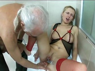 Old dude plays with milf in fun scene
