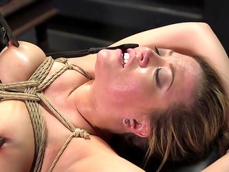 MILF roughly fucked in BDSM scenes then made to swallow