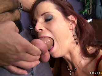 Brunette pornstar Syren De Mer fucked in all holes by a huge cock
