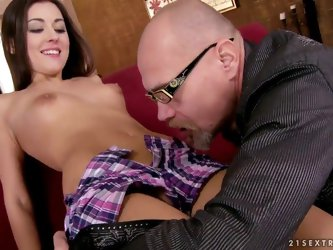 This rich old man seduces very cute young babe to have intergenerationa sex with him. He plays with her pussy by tongue before screwing it and mouth o