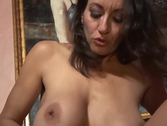 Cougar Persia Monir with trimmed pussy riding her horny husband