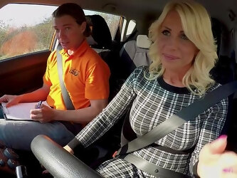 Blonde with perfect tits, fucks with the driving teacher