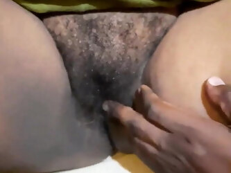 Playing with my wife's beautiful hairy pink pussy