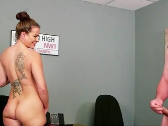 Office MILF gets laid with the guy during the job interview